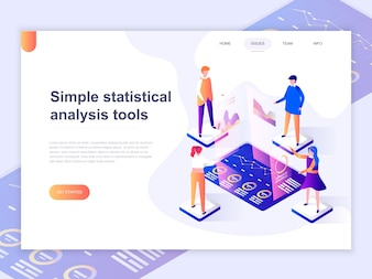 Landing page template of charts and analyzing statistics.