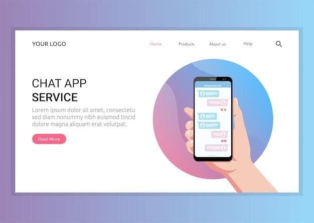 Шаблон целевой страницы концепции службы приложения чата. платформа приложение для общения с людьми под рукой символ.