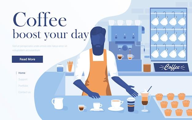コーヒーショップのランディングページテンプレート。若い男のバリスタがコーヒーを飲みながらバーで。 webサイトおよびモバイルwebサイトの最新のwebページ。図