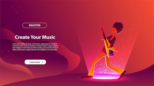 방문 페이지 템플릿으로 음악을 만듭니다. 웹 사이트 및 모바일 웹 사이트를위한 웹 페이지 디자인의 현대적인 평면 디자인 개념.