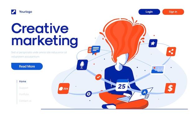 Шаблон целевой страницы креативного маркетинга в стиле плоский дизайн