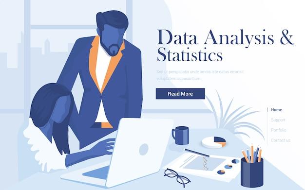 Шаблон целевой страницы анализа данных и статистики. молодой мужчина и женщина, работая вместе в рабочем пространстве. модерн веб-страницы для сайта и мобильного сайта