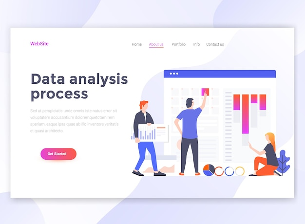 データ分析プロセスのランディングページテンプレート。