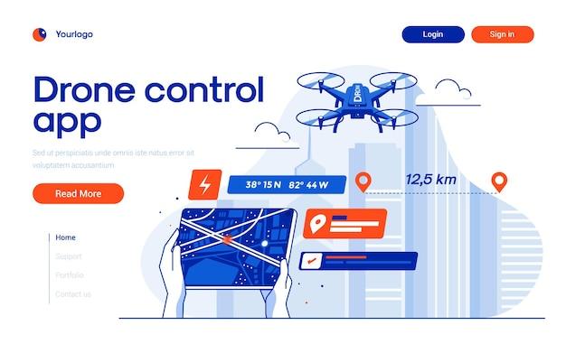 평면 디자인 스타일의 drone control 방문 페이지 템플릿