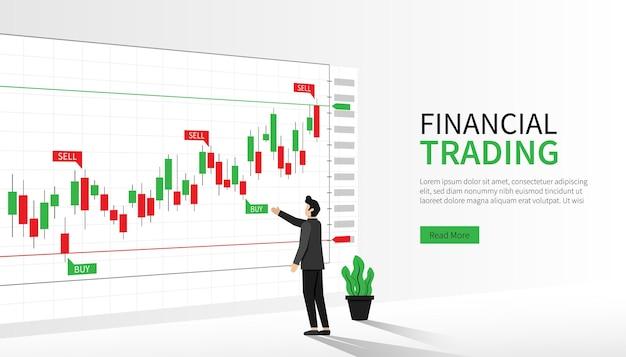 金融取引のランディングページテンプレート。外国為替取引シンボルの指標を分析する男。