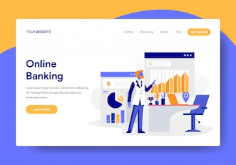 Landing page template of Online Banking Concept