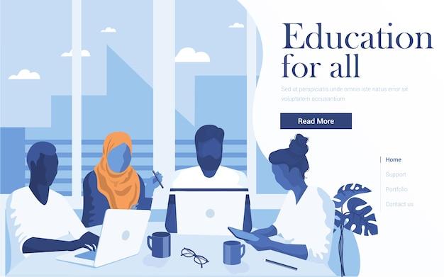 オンライン教育のランディングページテンプレート。ワークスペースで一緒に学ぶ若者のチーム。 webサイトおよびモバイルwebサイトの最新のwebページ。図
