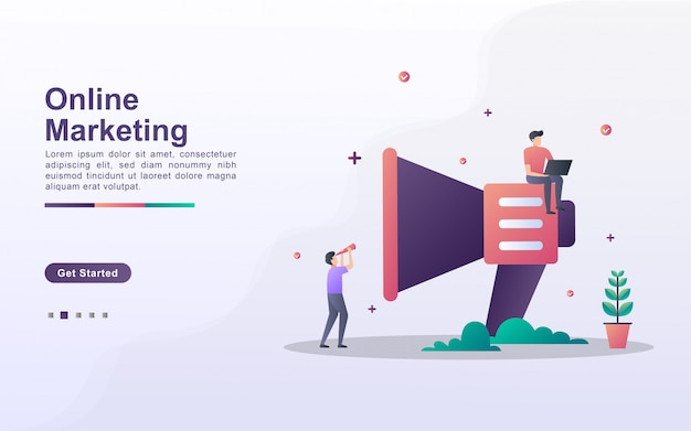 グラデーション効果スタイルのオンラインマーケティングのランディングページテンプレート
