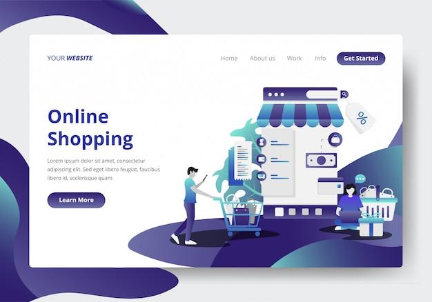 온라인 쇼핑 개념의 방문 페이지 템플릿 프리미엄 벡터