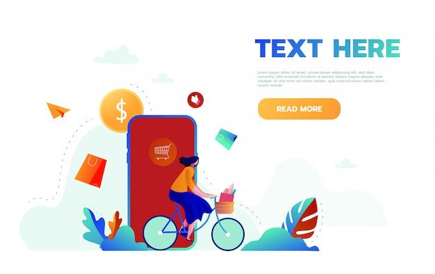 온라인 쇼핑의 방문 페이지 템플릿. 웹 사이트 및 모바일 웹 사이트를위한 웹 페이지 디자인의 현대적인 평면 디자인 개념. 쉽게 편집하고 사용자 지정할 수 있습니다. 삽화.