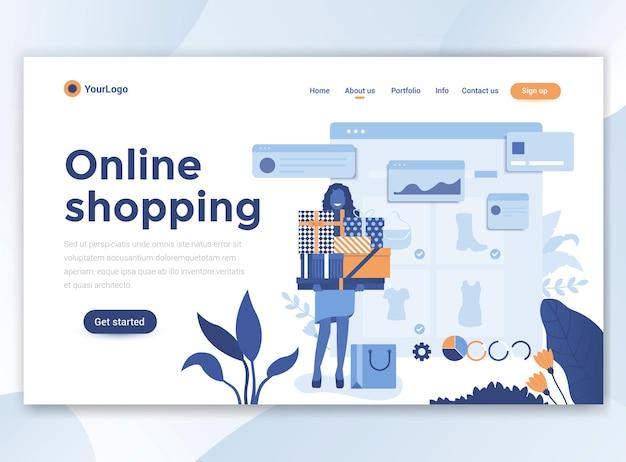 온라인 쇼핑의 방문 페이지 템플릿입니다. 웹 사이트를위한 현대적인 평면 디자인