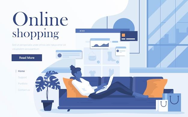 オンラインショッピングのランディングページテンプレート。リビングルームとオンラインショップのソファーに横になっているラップトップを持つ若い女性。 webサイトおよびモバイルwebサイトのwebページの。