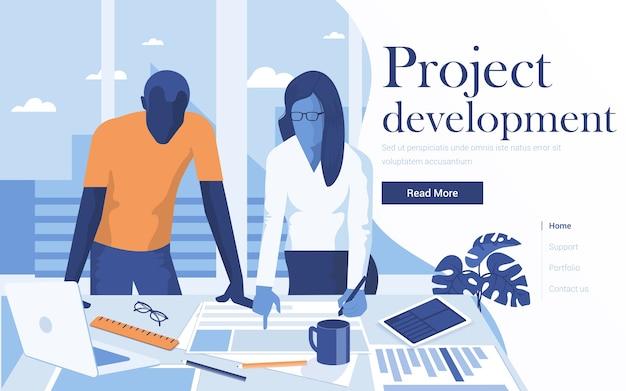 프로젝트 개발의 랜딩 페이지 템플릿. 작업 영역에서 함께 일하는 젊은 사람들의 팀. 웹 사이트 및 모바일 웹 사이트를위한 최신 웹 페이지.