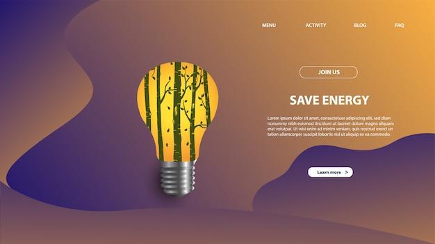 에너지 절약의 방문 페이지 템플릿. 웹 사이트 및 모바일 웹 사이트를위한 웹 페이지 디자인의 현대적인 평면 디자인 개념.
