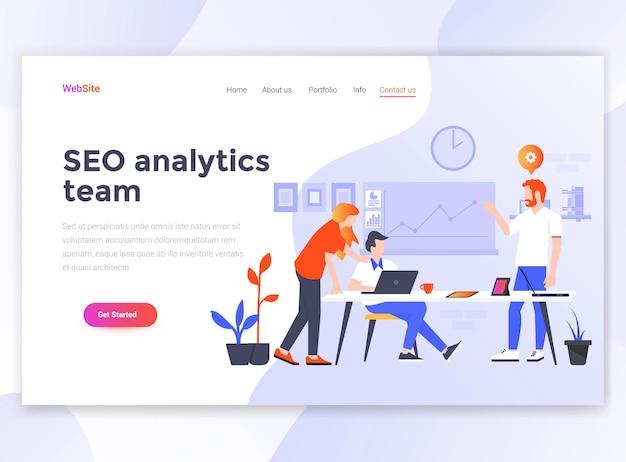 Шаблон целевой страницы команды seo analytics. Premium векторы