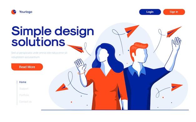 플랫 디자인 스타일의 심플 디자인 솔루션 랜딩 페이지 템플릿