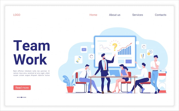 チームワークデザインのランディングページテンプレート。チームで作業し、グラフを操作する人々。会社の事業戦略についての議論。創造的なチームのイラスト。