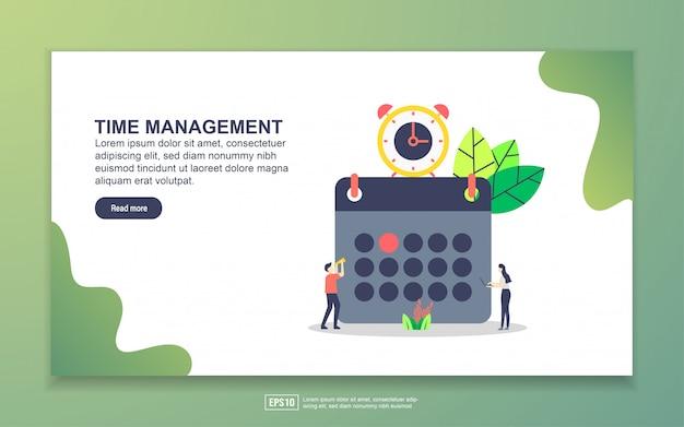 시간 관리의 방문 페이지 템플릿. 웹 사이트 및 모바일 웹 사이트를위한 웹 페이지 디자인의 현대적인 평면 디자인 개념.