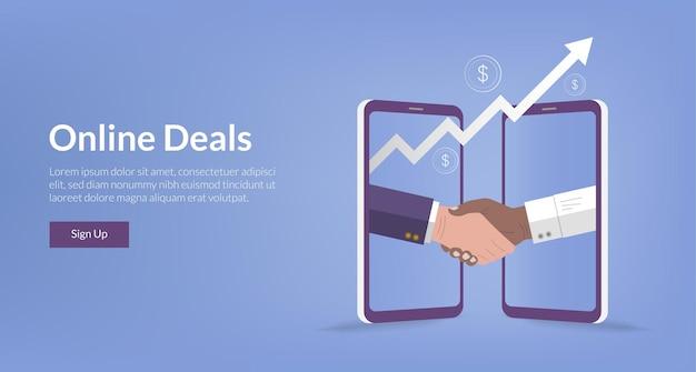 Шаблон целевой страницы двух бизнесменов, делающих виртуальные рукопожатия для деловых онлайн-сделок, векторная иллюстрация.