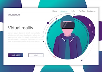 Landing page template of virtual reality