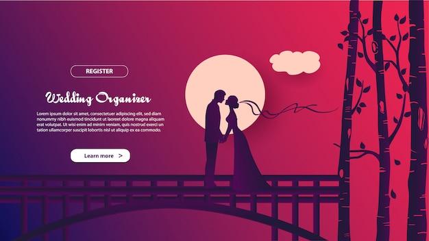 결혼식 주최자의 방문 페이지 템플릿입니다. 웹 사이트 및 모바일 웹 사이트를위한 웹 페이지 디자인의 현대적인 평면 디자인 개념.