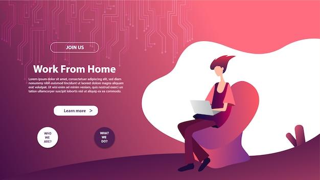 재택 근무의 방문 페이지 템플릿. 웹 사이트 및 모바일 웹 사이트를위한 웹 페이지 디자인의 현대적인 평면 디자인 개념.