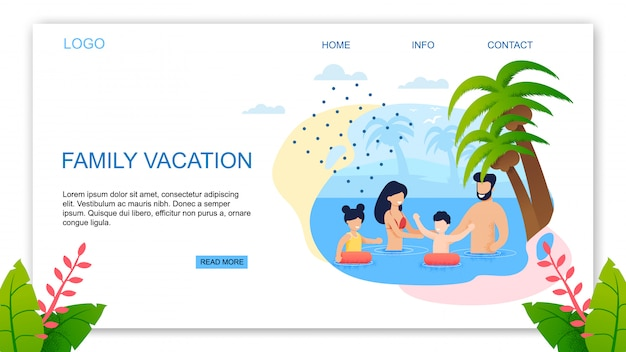 Landing page template offering best family vacation in tropical country.