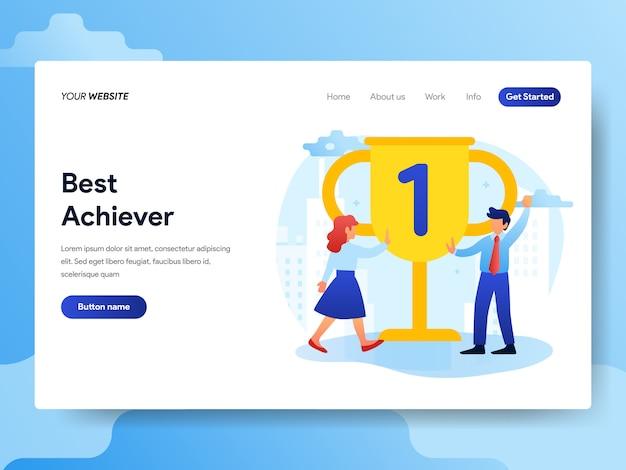 Landing page template of office best achievement