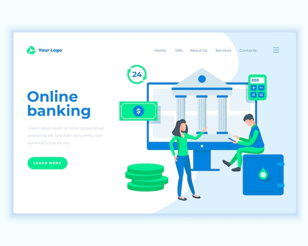 Landing page template online banking concept with office people.