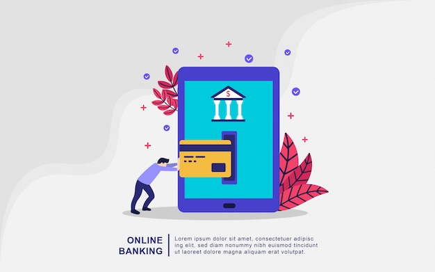 Landing page template of online banking modern flat design concept
