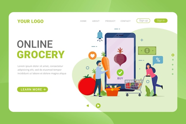 Landing page template online buying grocery food products in mobile app