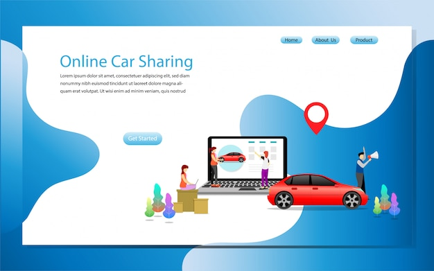 Landing page template online car sharing