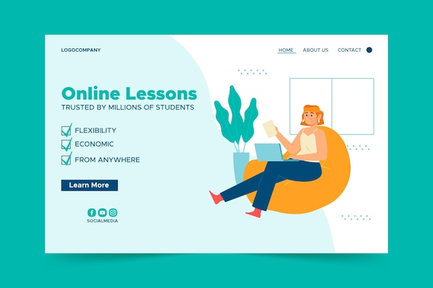 Landing page template for online classes