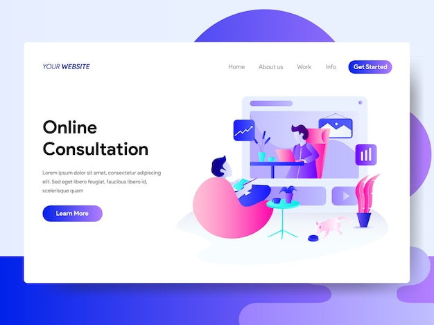 Landing page template of online consultation concept