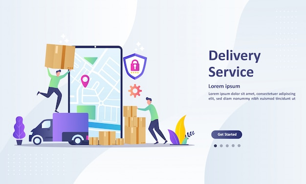 Landing page template of online delivery service