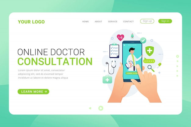 Landing page template online doctor consultation