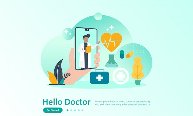 Landing page template of online doctor