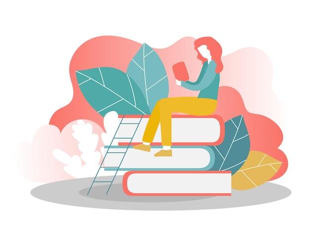 Landing page template of online education - girl reading books. modern flat design concept of web page design for website and mobile website. vector illustration