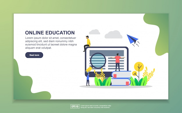 Landing page template of online education. modern flat design concept of web page design for website and mobile website