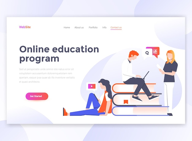 Landing page template of online education program.