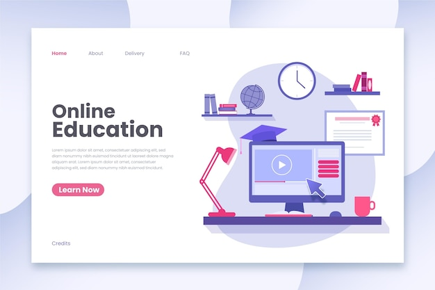 Landing page template for online education