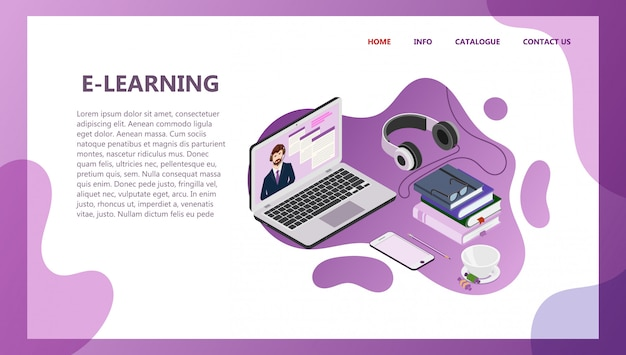 Landing page template of online education