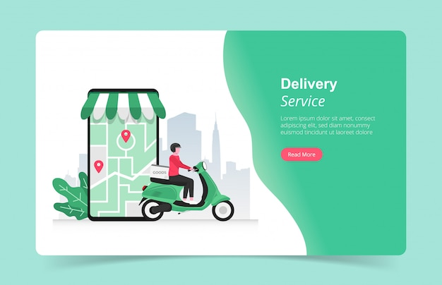Landing page template of online fast delivery services concept with courier and his scooter illustration.