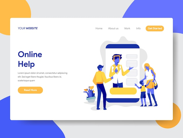 Landing page template of online help illustration