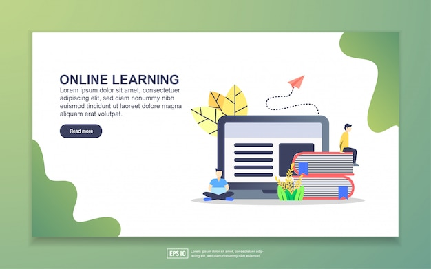 Landing page template of online learning. modern flat design concept of web page design for website and mobile website.
