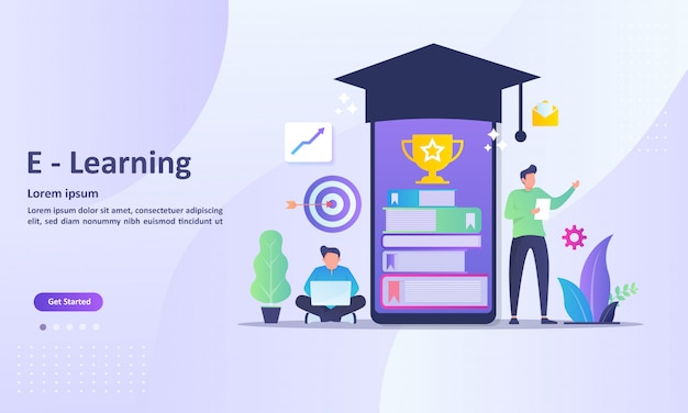 Landing page template of online learning