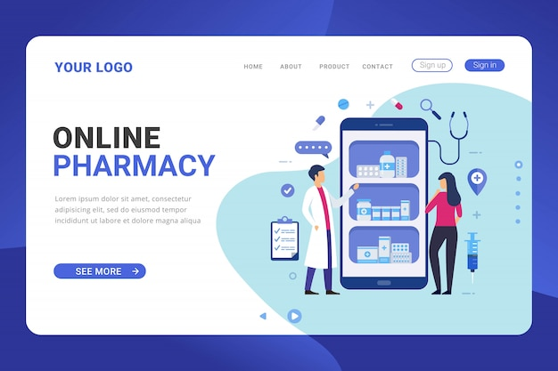 ランディングページテンプレートのオンライン薬局のデザインコンセプト