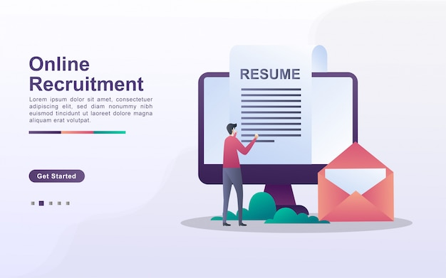 Landing page template of online recruitment in gradient effect style