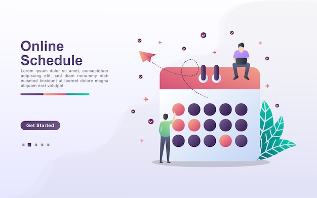Landing page template of online schedule
