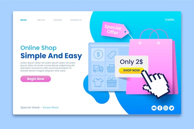 Landing page template for online shop